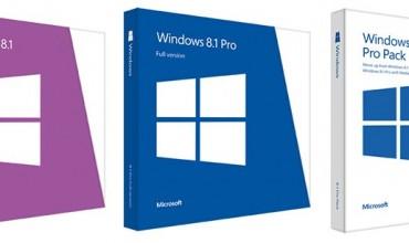 ตารางเปรียบเทียบราคา Windows 8.1 แต่ละรุ่นอย่างเป็นทางการ