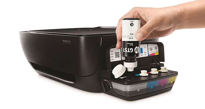 HP-DeskJet-GT-Series-Ink-Bottles-(Black),-In-use-refilling-printer