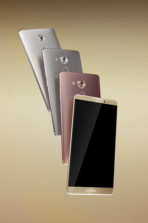 Mate8_ProductPhoto_groupshot_AllbackGoldfront_fanshaped